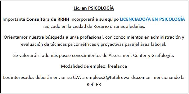 Psicólogos Rosario aviso laboral